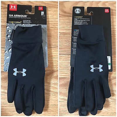 Under Armour Storm Cold Gear Unisex Black/Steel Size L Liner Gloves #1282763 NWT