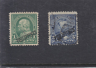"""Philippines/usa-1899-2 X Usa Stamps Overprinted """"philippines""""-Fine Used-$12"""