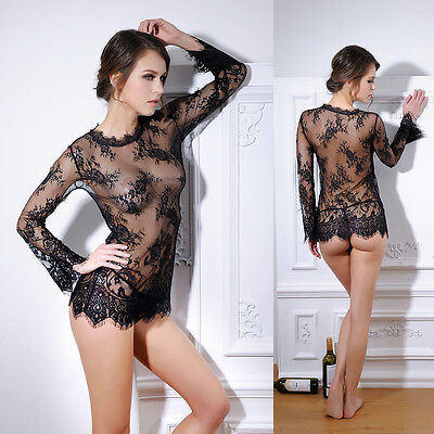 Sexy-Lingerie-Sleepwear-Lace-G-string-Long-Sleeves-Underwear-Babydoll-Nightwear