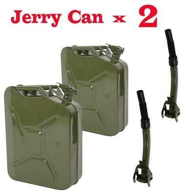 2X Jerry Fuel Can 20 Litre Army Green Metal Diesel Gasoline Petrol Oil + 2 Spout