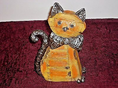 Spring '14 Country Charm Wooden Cat Sculpture Metal Detailing