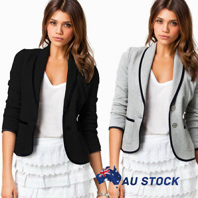 AU Women Formal Short Jacket Ladies Casual Long Sleeve Button Coat Top Outerwear