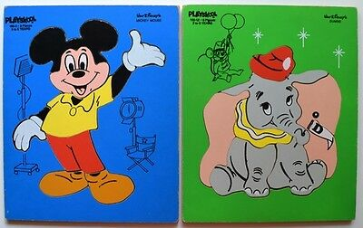 (2) Vintage PLAYSKOOL Disney Wooden Puzzles - MICKEY MOUSE & DUMBO 190-5/190-12