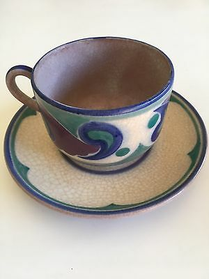 Poole Pottery Cup And Saucer Art Deco Period Paisley Pattern