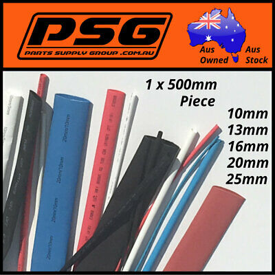 Heat Shrink 600mm of tubing 10mm 13mm 16mm 20mm 25mm Red White Blue Black