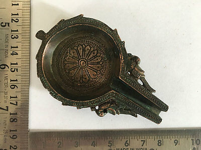 Old antique copper hindu ritual small miniature plate or DIYA temple use
