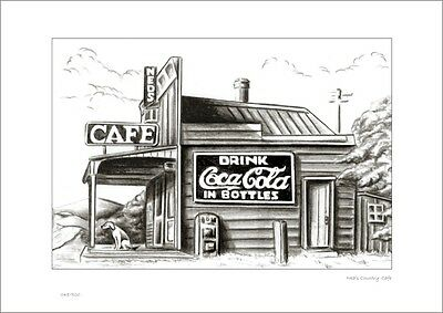 Country Cafe      Australian    Pencil  Drawing   Limited Edition Print