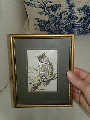 J & J Cash Coventry, England -  beautiful, Woven Silk embroid. Great Horned Owl