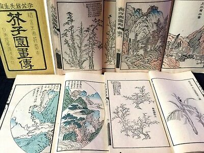 KAISHIEN Shanshui Chinese painting Collection & guide Woodblock print 5 Book JPN