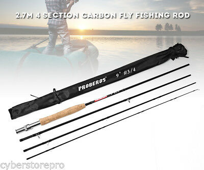 Proberos 2.7M 4 Section Carbon Fly Fishing Rod with Soft Cork Handle Fish Tackle