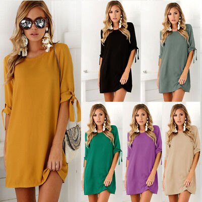 Fashion Womens Summer Short Sleeve Casual Blouse Loose Tops T Shirt Party Dress