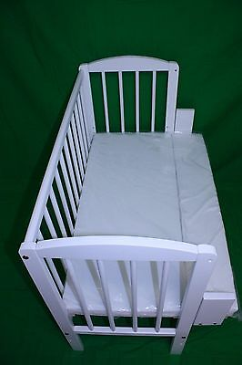 WHITE Baby Co Sleeper Cot Bed Side Next to me With FREE Mattress & fitted sheet