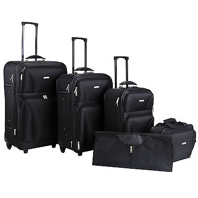 New 5 Pcs Luggage Travel Set Bag ABS Trolley Rolling Suitcase W/TSA Lock Black