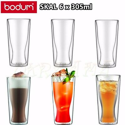 BODUM Skal Double Wall Thermo Glasses X6 350ml Coffee Tea Juice Cup