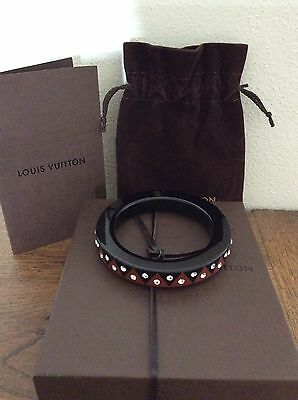 Authentic Louis Vuitton Resin And Swarovski Crystal Bangle In Brown/black