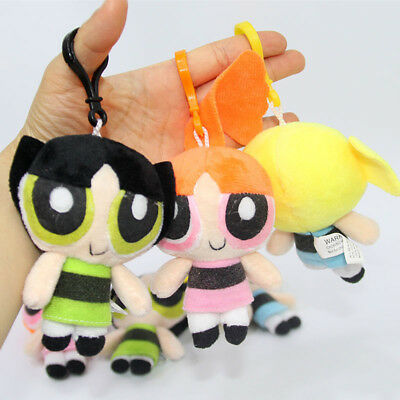 3PCS Powerpuff Girls Doll The 1999 Cartoon Network Plush Toy Kid's Gift 4""