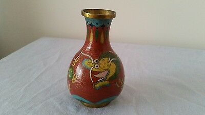 Small Cloisonne Reddish Brown Vase - Dragon Design (10cm)