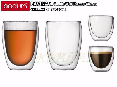Set of 8 BODUM Pavina Double Wall Thermo Glasses Set 4x 350ml + 4x 250ml