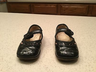 Vintage Child Childrens Shoes Girls Black Patent Leather Shoes CUTE & NICE