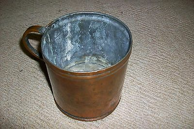 RARE OLD Scarce Antique Copper BRUSH POT hand made hammered welds vintage&solid