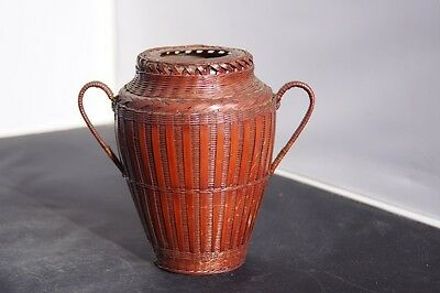 Made in Japan Classical Flower Vase Woven bamboo basket with handles