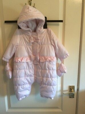 baby girl pink snowsuit by zip zap age 6 months new