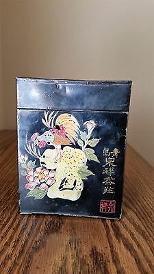 Great Tole Tea Caddy, Japanese, Bird, Tree, Flowers PRICE REDUCED