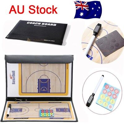 Basketball Tactical Board Coaching Coaches Clipboard Kit Dry Erase w/marker AU