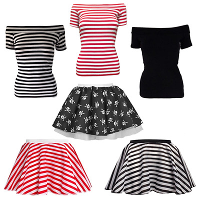 """Ladies White /& Red Comic Relief 15/"""" Skater Skirt Full Circle Red Nose Day"""