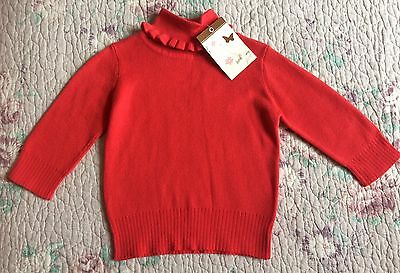BNWT Baby Girls John Lewis Ribbed Roll Neck Top Age 3-6 Months 100% Cotton