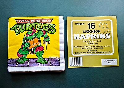 Vintage Lot Of 16 Ninja Turtle Collectible 2 Ply Paper Napkins