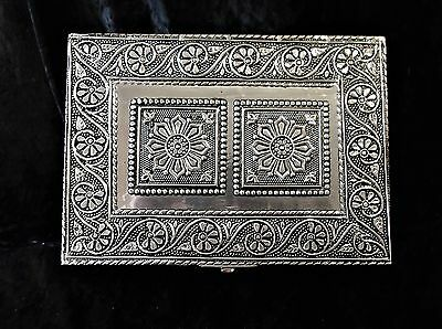 L@@k! Indian Moroccan Style Silver Pressed Metal Jewellery/ Tarot Chest -Bx52