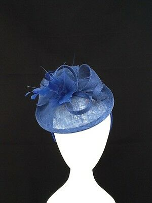 Blue Flower, Bow And Feather Detailing Fascinator  On Headband Code:fblue45