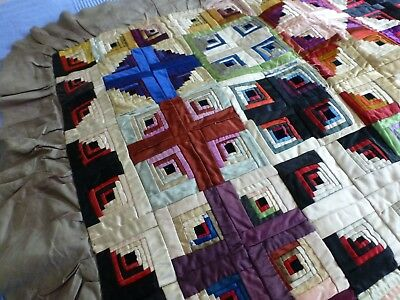 Antq Victorian small patchwork quilt bedcover hand stitched 'log cabin' pattern