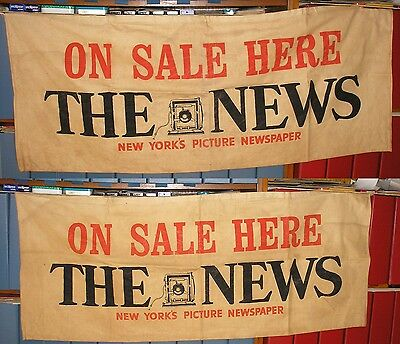 RARE NYC New York Daily News Newspaper Canvas Double Sided Newsstand Sign 1940s