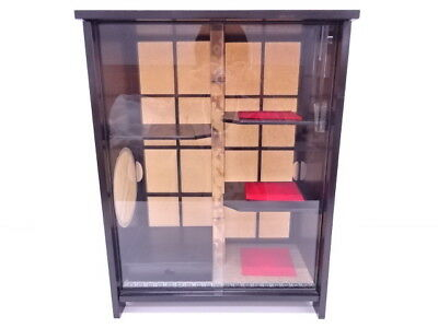 3110572: JAPANESE TEA CEREMONY LACQUERED TEA SIDEBOARD w/ PAPER SCREEN
