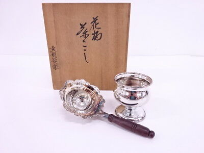 3108937: Japanese Blass Silver Tea Strainer & Footed Bowl Set