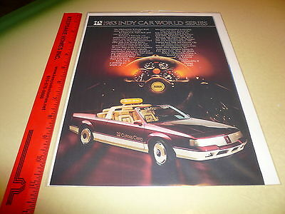1983 Indy Car World Series Oldsmobile Cutlass Ciera PPG Pace Car Advertisement