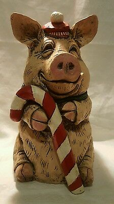 """The Stone Bunny Christmas Pig Figurine 10"""" Telle M Stein 2003 Signed *NICE"""