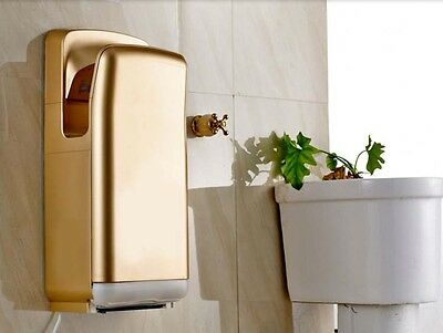 Golden Wall Mounted Automatic Induction Double Jet Blade Hand Dryer Machine