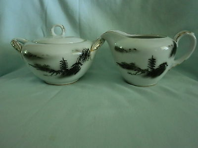 Vintage Fukagawa Arita Creamer Pitcher and Covered Sugar Bowl Black & White #903