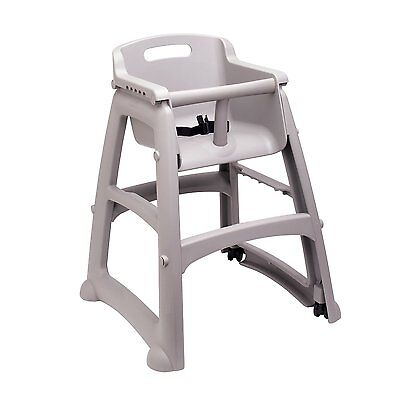 Rubbermaid Commercial Sturdy Youth Seat High Chair w Wheels, Platinum, FG780508