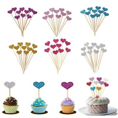 30pcs Birthday Cupcake Toppers Love Heart Baby Shower Wedding Party Cake Decor