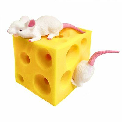 Squeezy Stretchy Mice and Cheese Toy - Fun Squishy Sensory Toy - Fidget Autism