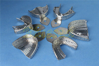 6PCS Autoclavable Dental Metal Impression Trays Stainless Steel Upper Lower
