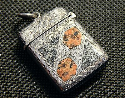 STERLING SILVER MATCH SAFE w/Inlaid Colored Granite by Jos. Cook & Sons c. 1904