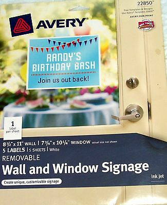 """New Avery Wall and Window Signage 5, 8 1/2"""" x 11"""" Labels per package"""