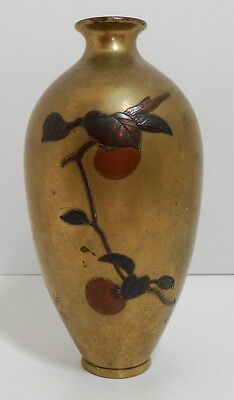 "Japanese Bronze Vase Copper Inlay Meiji 19th Century 7"" tall"