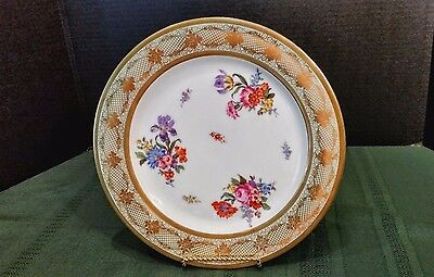 Bavarian P.T.Tischenreuth 'Floral, Gold Filegre' Dinner Plate EUC Free SHIPPING