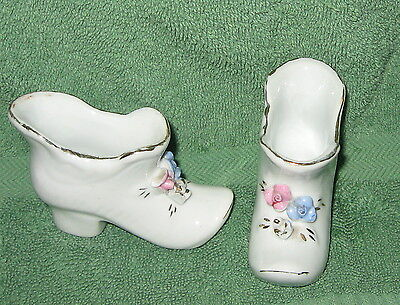 """2 ) White Porcelain High Heel Shoes with Flowers -Gold Trim 3 """" x 3"""""""